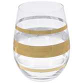 Gold Dashed & Striped Stemless Glass