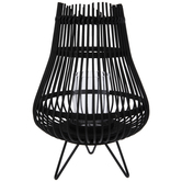 Black Bamboo Basket Candle Holder
