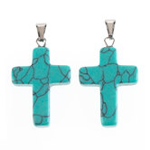 Imitation Turquoise Cross Pendants - 18mm x 25mm