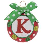 Mini Polka Dot Letter Ball Ornament