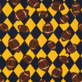 Navy & Bright Gold Football Fleece Fabric