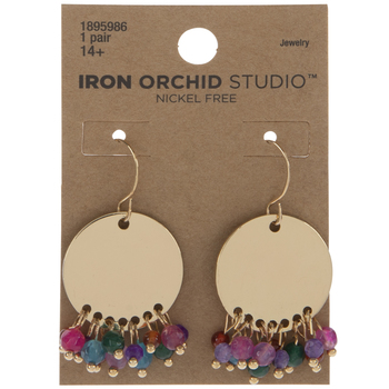 Disc With Beads Drop Earrings