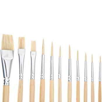 Hog Bristle Paint Brushes - 12 Piece Set