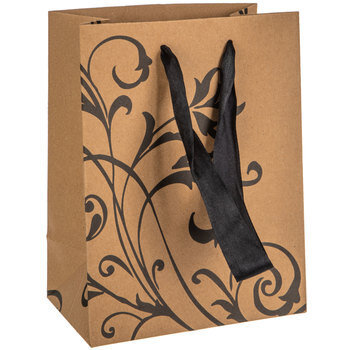 Kraft & Black Floral Flourish Gift Bag