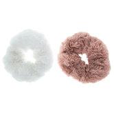 Pink & White Faux Fur Scrunchies