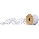 "White Glitter Swirl Cutout Wired Edge Ribbon - 2 1/2"""