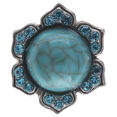 Turquoise Cabochon Flower Snap Charm