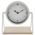 White Swivel Clock With Wood Base
