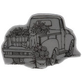 Dog On Truck Cling Stamp