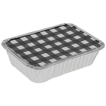 Foil Treat Containers With Buffalo Check Lid
