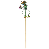 Frog With Blue Bowtie Metal Garden Pick