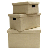 Natural Burlap Rectangle Storage Boxes with Lids