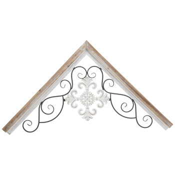 White Medallion Corner Wood Wall Decor