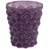 Purple Mercury Glass Candle Holder