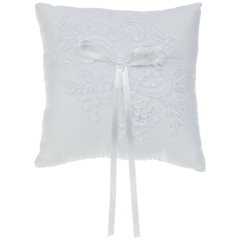 White Embroidered Lace Ring Pillow