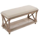 Whitewash Padded Wood Bench