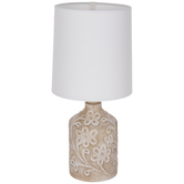 Weathered Brown Floral Lamp