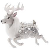 Silver & White Glamorous Reindeer Ornament