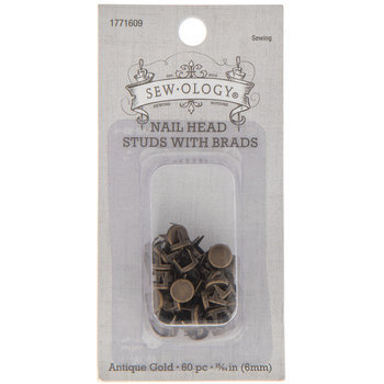Antique Gold Nail Head Studs With Brads - 6mm