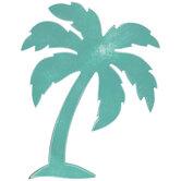 Turquoise Palm Tree Wood Wall Decor