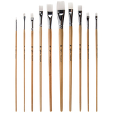 White Taklon Acrylic & Watercolor Flat Paint Brushes - 10 Piece Set