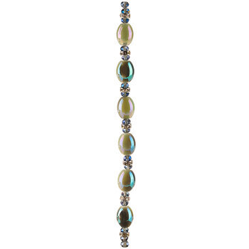 Turquoise & Oyster AB Oval Glass Bead Strand