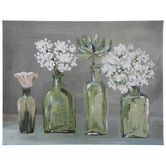 Green Vase Flowers Canvas Wall Decor