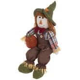 Scarecrow Boy With Pumpkin Shelf Sitter