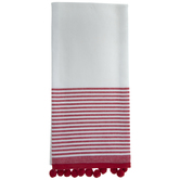 White & Red Striped Kitchen Towels