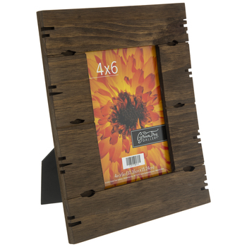 "Dark Brown Wood Plank Frame - 4"" x 6"""