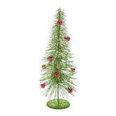 Green Flocked Tree Decor With Red Ornaments - Small