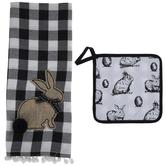 Bunny Buffalo Check Kitchen Towel & Pot Holder