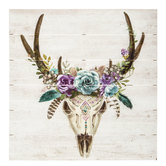 Floral Skull Wood Wall Decor