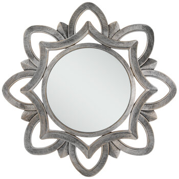 Brushed Silver Flower Wall Mirror