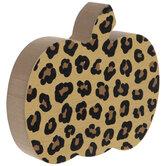 Leopard Print Wood Pumpkin