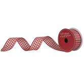 Red & Cream Gingham Wired Edge Ribbon - 1 1/2""