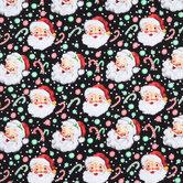 Retro Santa & Candy Cotton Apparel Fabric