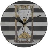 Sand Hourglass Striped Clock