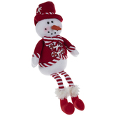 Red & White Plush Snowman Shelf Sitter