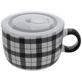 White & Black Gingham Soup Mug