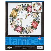 Hummingbird Wreath Stamped Cross Stitch Kit