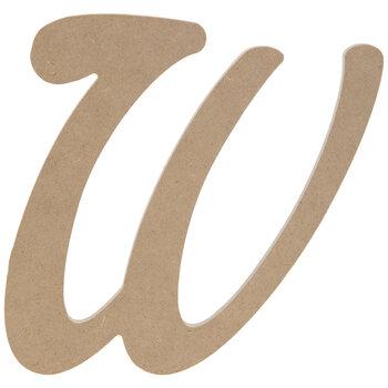 """Uppercase Script Wood Letter W - 6"""""""