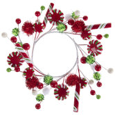 Red & Green Candy & Pom Pom Candle Ring