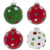 Green & Red Polka Dot Ball Ornaments