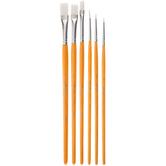 White Nylon Paint Brushes - 6 Piece Set
