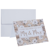 Floral Wood Plank Thank You Cards