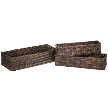 Medium Brown Rectangle Basket Set