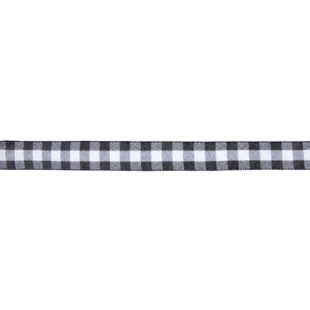 "White & Black Buffalo Check Wired Edge Ribbon - 1 1/2"""