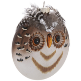 Flat Owl With Feathers Ornament
