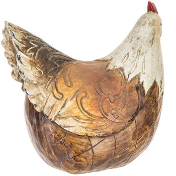 Brown & White Carved Sitting Hen